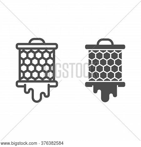 Grid With Honeycombs From Beehive Line And Solid Icon, Beekeeping Concept, Bee Honey In Honeycomb Si