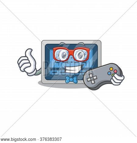 Mascot Design Style Of Digital Timer Gamer Playing With Controller