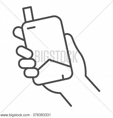Hand With Electronic Cigarette Thin Line Icon, Smoking Concept, E Cigarette In Hand Sign On White Ba