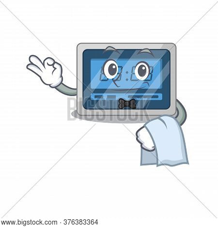 A Cartoon Picture Of Digital Timer Waiter With A White Napkin