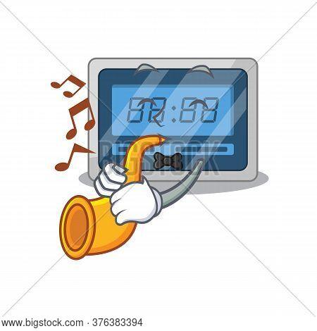 Digital Timer Musician Of Cartoon Design Playing A Trumpet