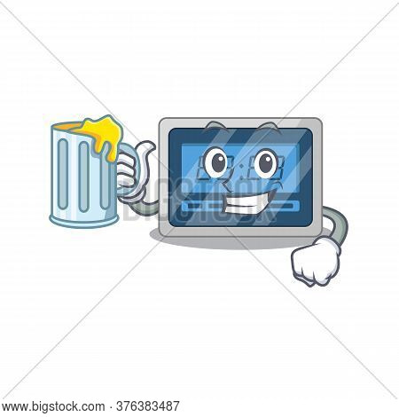 A Cartoon Concept Of Digital Timer With A Glass Of Beer