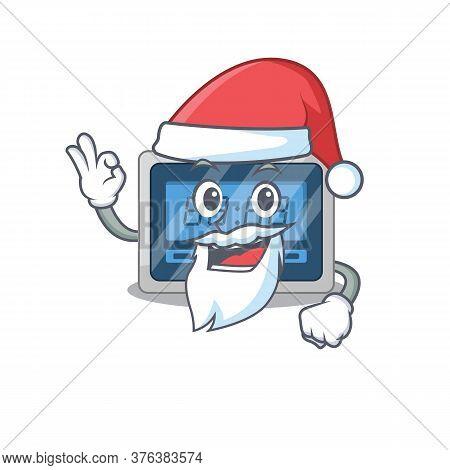 Cartoon Character Of Digital Timer Santa Having Cute Ok Finger