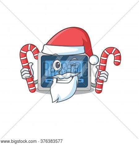 Friendly Digital Timer Dressed In Santa Cartoon Character With Christmas Candies