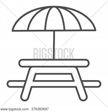 Outdoor Table With Umbrella Thin Line Icon, Picnic Concept, Camping Table Sign On White Background,