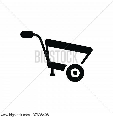 Black Solid Icon For Wheel-barrow Construction Agriculture Pushcart Material Horticulture Transporta