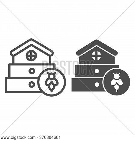 Bee Hive Line And Solid Icon, Beekeeping Concept, Beehive House Sign On White Background, Hive For B