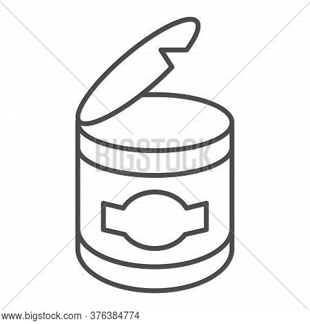 Canned Food Thin Line Icon, Picnic Concept, Open Can Metal Container Sign On White Background, Conse