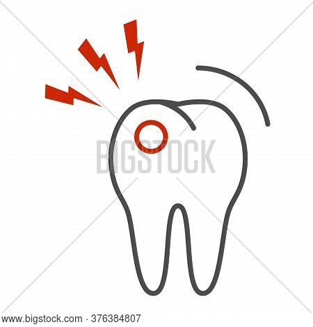 Toothache Thin Line Icon, Dental Care Concept, Tooth With Lightning Sign On White Background, Tootha