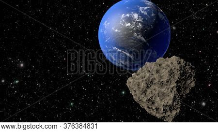 Planets Earth And A Meteorite Flying Towards It. 3d Rendering