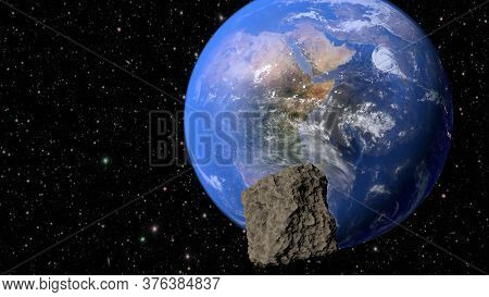 Planet Earth, Continent Africa And Meteorite Flying To It. 3d Rendering