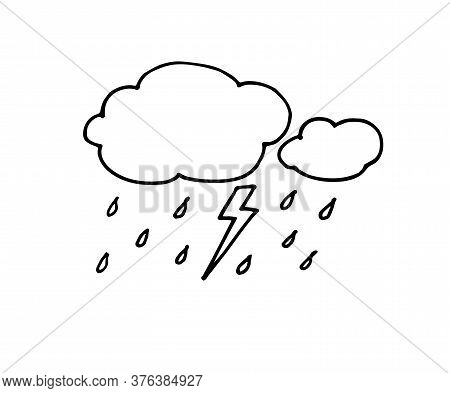 Hand Drawn Doodle Rainy Clouds With Drops. Vector Illustration Isolated On White. Simple Black Line,