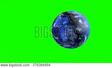 Planet Earth On A Green Screen. 3d Rendering