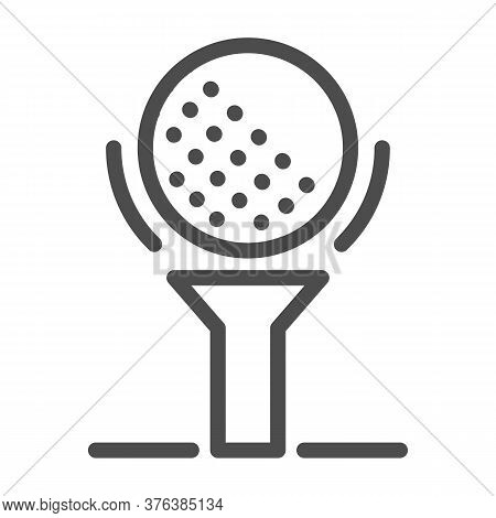 Golf Ball On Tee Line Icon, Golfing Concept, Golfball Sign On White Background, Golf Ball Icon In Ou