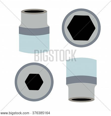 Socket Wrench. Ratchet Used To Unwind Or Tighten Nuts And Bolts Are On The White Background. Ratchet