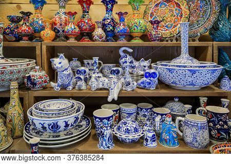 Traditional Montenegrin Hand Painted Decorative Pottery With A Floral Pattern For Sale In At A Souve