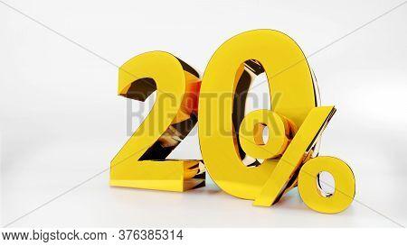 20% Golden Symbol , 3d Render Symbol  White Background
