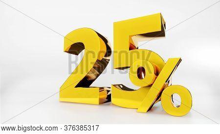 25% Golden Symbol , 3d Render Symbol  White Background