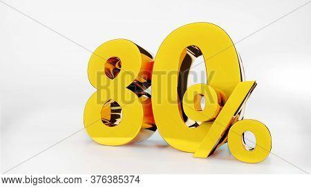 80% Golden Symbol , 3d Render Symbol  White Background