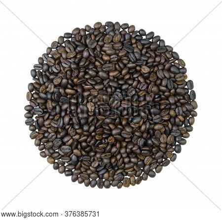 Circle Of Coffee Beans Isolated On A White Background. Dark Roasting.