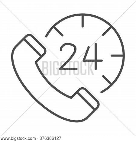 Handset And Clock Thin Line Icon, Call Center Concept, All-day Customer Support Sign On White Backgr
