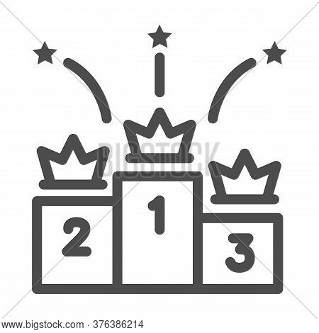 Winners Podium With Crowns Line Icon, Sport Concept, Pedestal Of Honor Sign On White Background, Vic