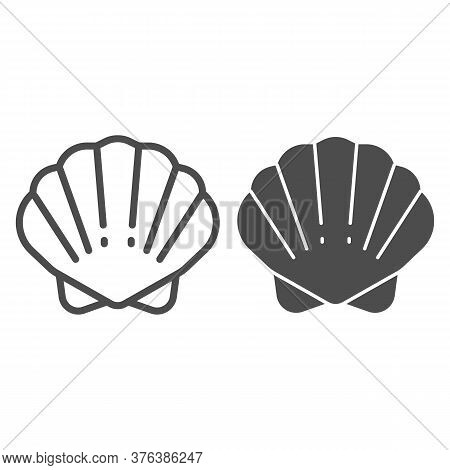 Shell Line And Solid Icon, Ocean Concept, Shellfish Shell Sign On White Background, Seashell Icon In