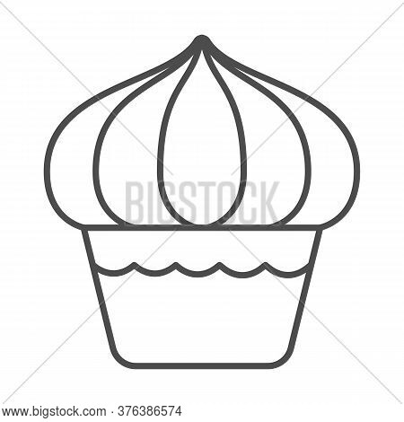 Cupcake Thin Line Icon, Dessert Concept, Muffin Sign On White Background, Sweet Creamy Cupcake Icon