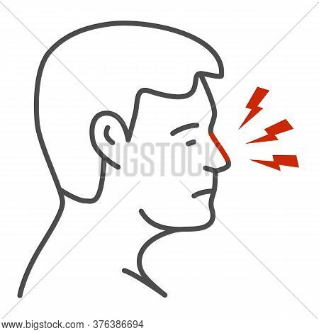 Nose Hurts Thin Line Icon, Body Pain Concept, Human Nose With Lightning Sign On White Background, No