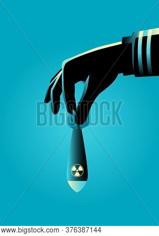 Graphic Illustration Of A Hand In Military Uniform Ready To Drops An Atomic Or Nuclear Bomb