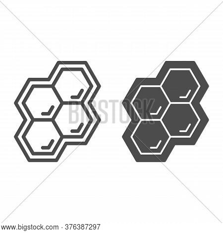 Honeycomb Line And Solid Icon, Honey And Bee Concept, Honey Cells On White Background, Bee Hexagon H