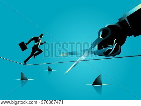 Business Concept Illustration Of A Businessman Running On Rope Over A Sea Full With Sharks, Meanwhil