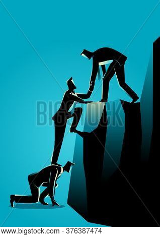 Business Concept Illustration Of Businessmen Helping Each Other Climbing To Higher Level