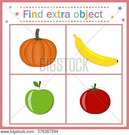 Card For Children's Development, Find An Extra Object That Shows Fruits And Vegetables Of A Round Sh