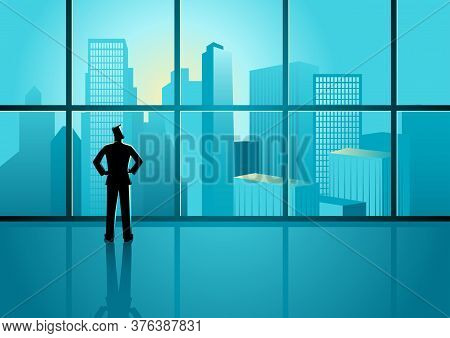 Business Concept Illustration Of A Confident Businessman Looking On Cityscape Through The Window