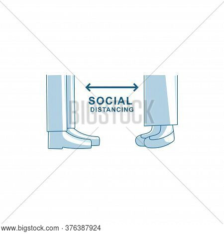 Social Distancing 2 Meter And 6 Feet Illustration Vector
