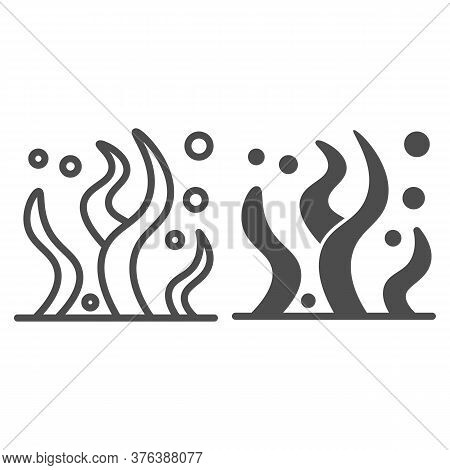 Seaweed Line And Solid Icon, Ocean And Underwater Concept, Sea Algae Sign On White Background, Sea W