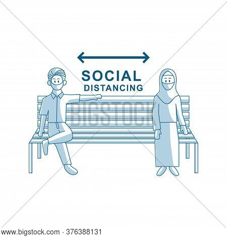 Social Distancing People Sit On Chair Keeping Distance
