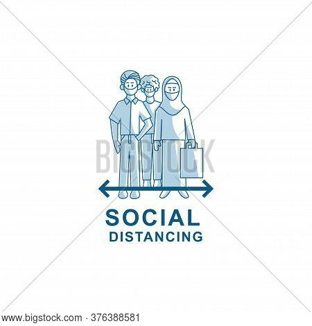 Social Distancing Avoid Crowds Template Illustration Vector