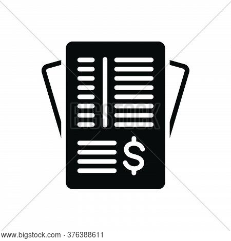 Black Solid Icon For Invoice-paper Paperwork Invoice Contract Legal Responsive Corporate Note Docume