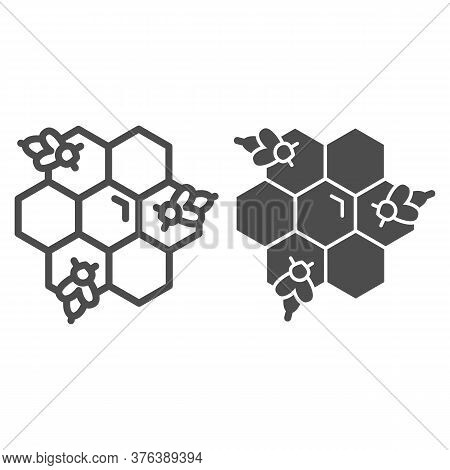 Honeycomb With Bees Line And Solid Icon, Honey Concept, Honey Bees In Honeycomb Sign On White Backgr