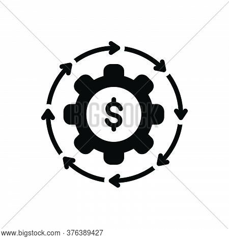 Black Solid Icon For Money-flow Cash Recycle Abundance Currency Finance Cycle Circulate Exchange Tra