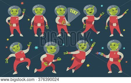 Funny Green Aliens Flat Icon Set. Cute Futuristic Character Of Humanoid Astronaut In Spacesuit Vecto
