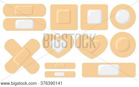 Various Adhesive Medical Plasters Flat Icon Set. Cartoon Elastic Bandage Patches For Wound Vector Il