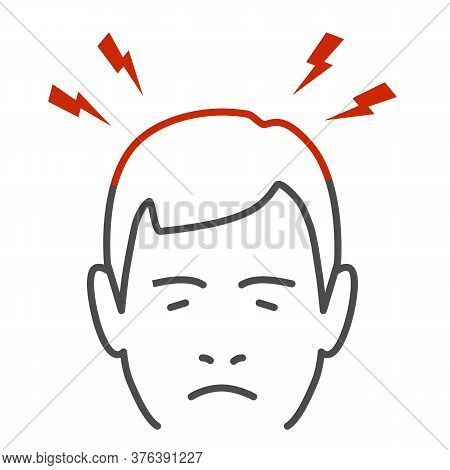 Headache Thin Line Icon, Body Pain Concept, Lightnings Above Mans Head Sign On White Background, Per