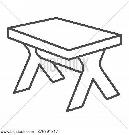 Wooden Table Thin Line Icon, Furniture Concept, Street Picnic Table Sign On White Background, Outdoo