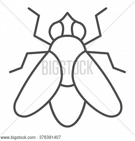 Fly Thin Line Icon, Insects Concept, Fly Insect Sign On White Background, Fly Silhouette Icon In Out
