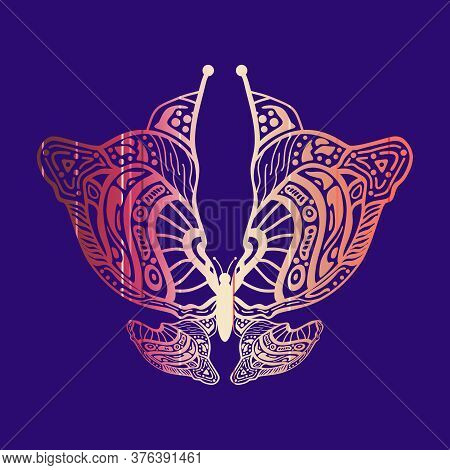 Silhouettes Of The Beautiful Butterfly. Zentangle For Tattoo In Boho, Hipster Style. Ornamental Trib