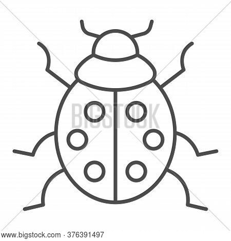 Ladybug Thin Line Icon, Beetles Concept, Ladybird Sign On White Background, Lady-beetle Icon In Outl