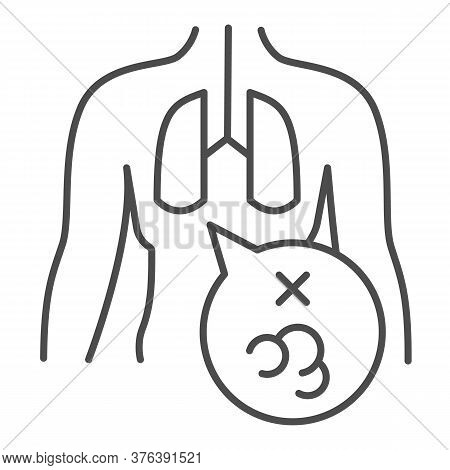 Cancer In Lungs Thin Line Icon, Smoking Concept, Human Lung Cancer Sign On White Background, Lung Di